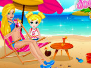 Play Barbie Mommy and Baby at the Beach
